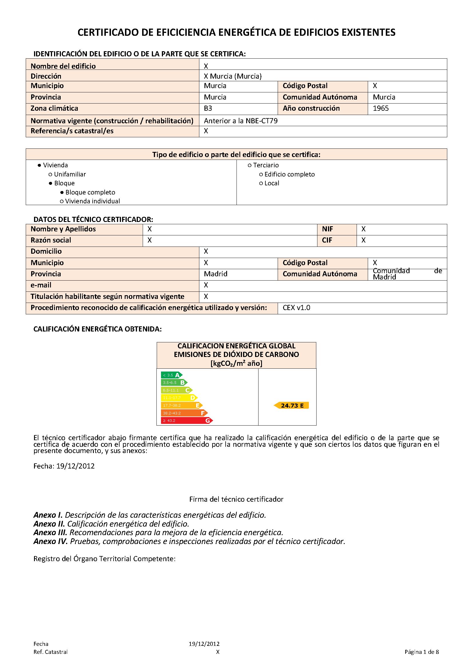 Ejemplo de certificado energetico con ce3x p gina 1 goiener - Ejemplo certificado energetico piso ...