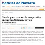 Charla para conocer la cooperativa energética Goiener, hoy en Beralandeta. Diario de Noticias de Navarra